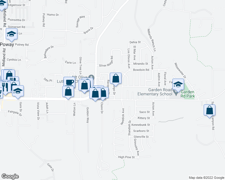 map of restaurants, bars, coffee shops, grocery stores, and more near 13340 Montego Drive in Poway