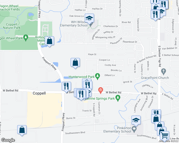 map of restaurants, bars, coffee shops, grocery stores, and more near 524 McNear Drive in Coppell