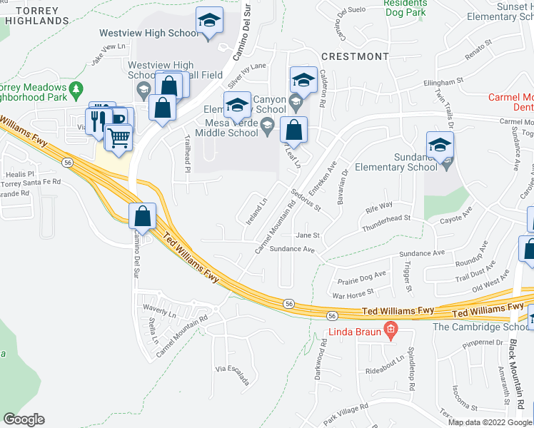 map of restaurants, bars, coffee shops, grocery stores, and more near 13158 Russet Leaf Lane in San Diego