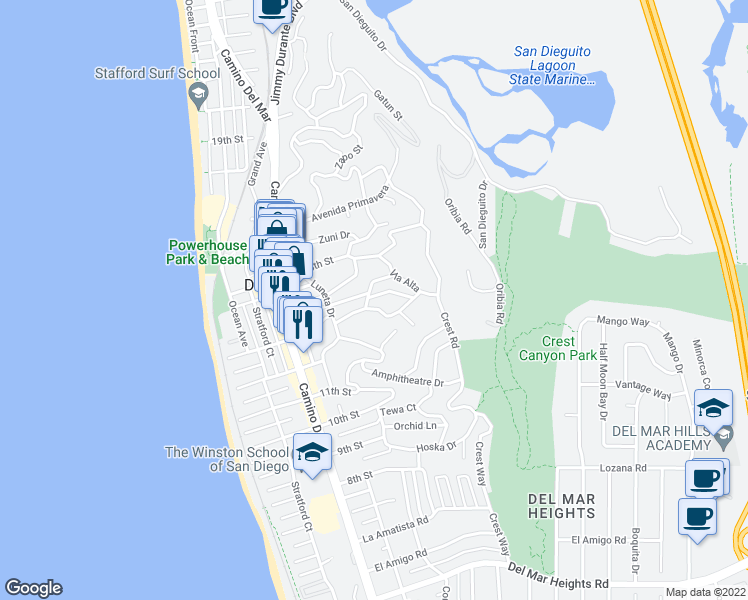 map of restaurants, bars, coffee shops, grocery stores, and more near 507 Van Dyke Avenue in Del Mar