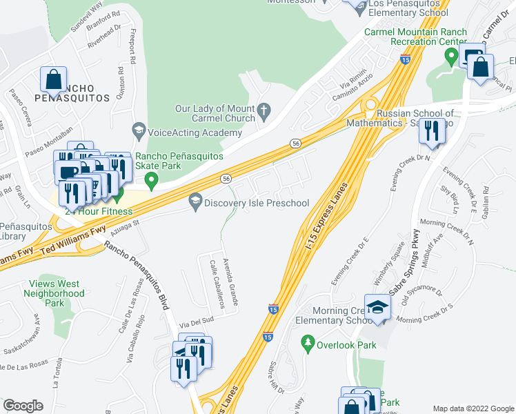 map of restaurants, bars, coffee shops, grocery stores, and more near 13317 Caminito Ciera in San Diego