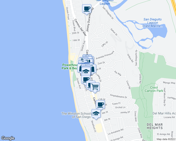 map of restaurants, bars, coffee shops, grocery stores, and more near in Del Mar