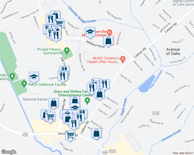 map of restaurants, bars, coffee shops, grocery stores, and more near 93-B Springview Lane in Summerville