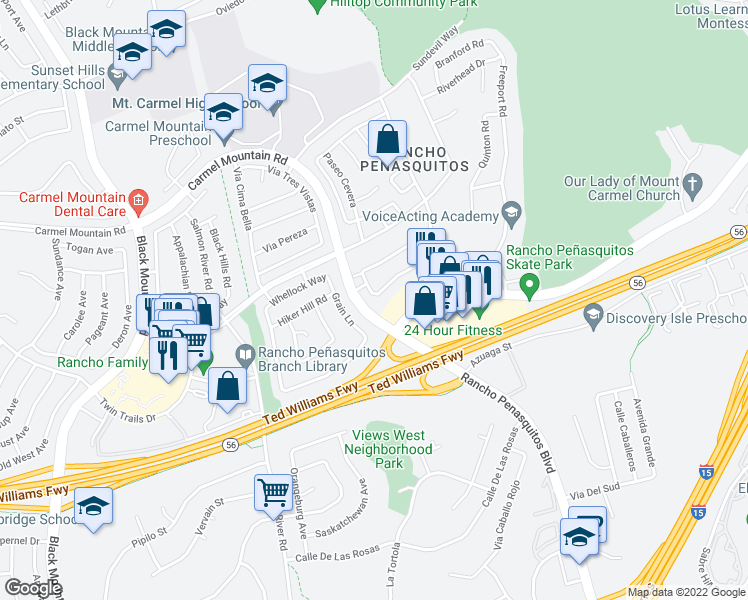map of restaurants, bars, coffee shops, grocery stores, and more near 9785 Caminito Cuadro in San Diego
