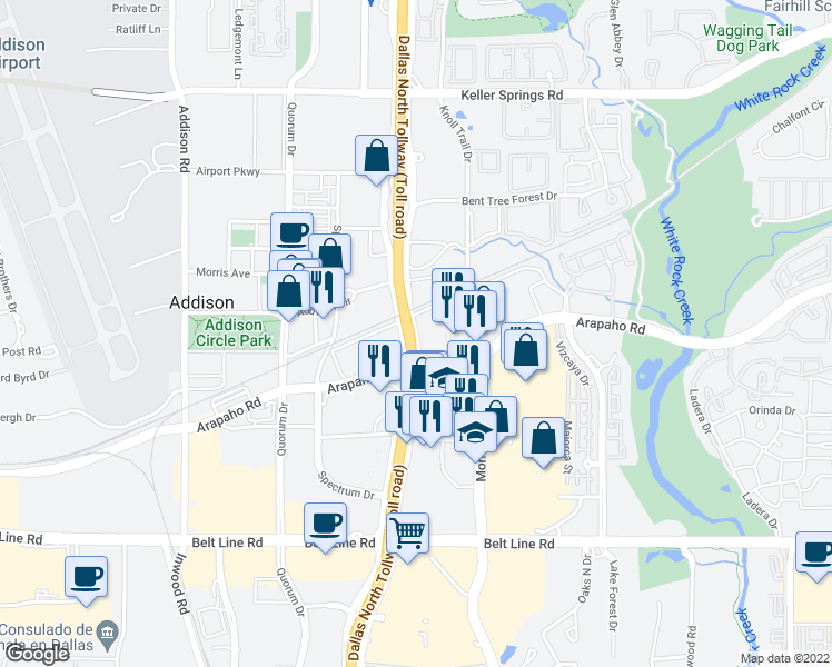 map of restaurants, bars, coffee shops, grocery stores, and more near 15480 Dallas Parkway in Addison