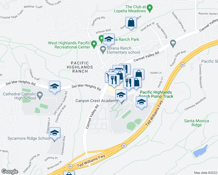 map of restaurants, bars, coffee shops, grocery stores, and more near 6025 Carmel Valley Road in San Diego