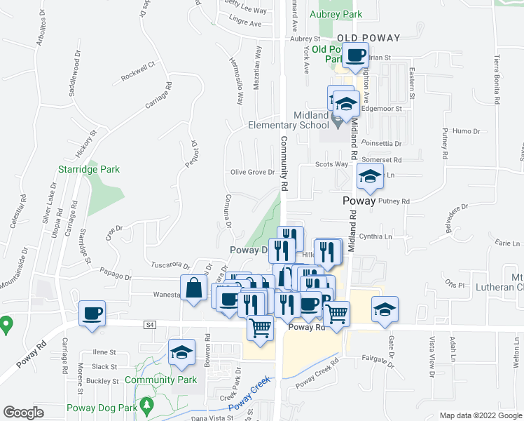 map of restaurants, bars, coffee shops, grocery stores, and more near 13605 Sycamore Tree Lane in Poway