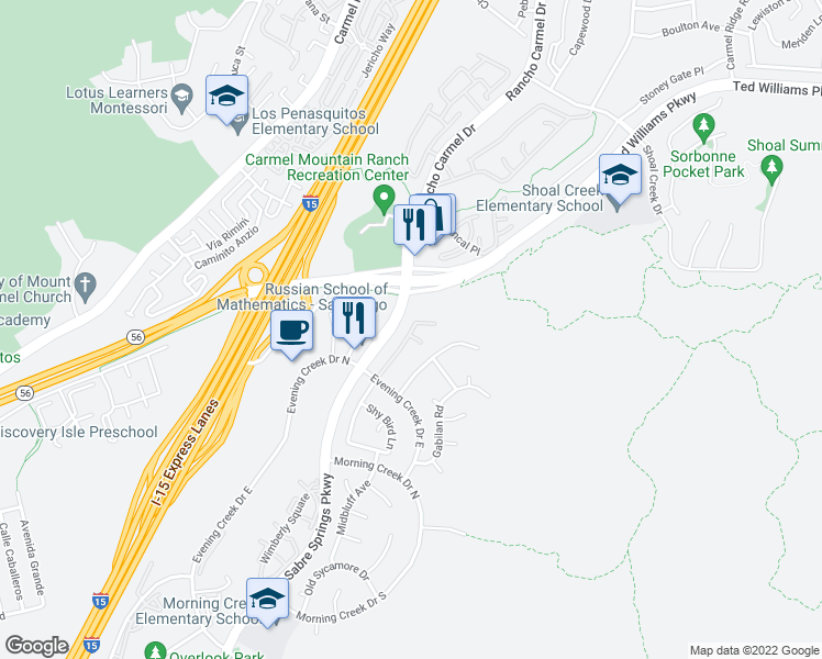 map of restaurants, bars, coffee shops, grocery stores, and more near 10918 Evening Creek Drive East in San Diego