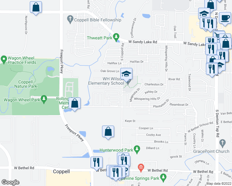 map of restaurants, bars, coffee shops, grocery stores, and more near 518 Archer Drive in Coppell