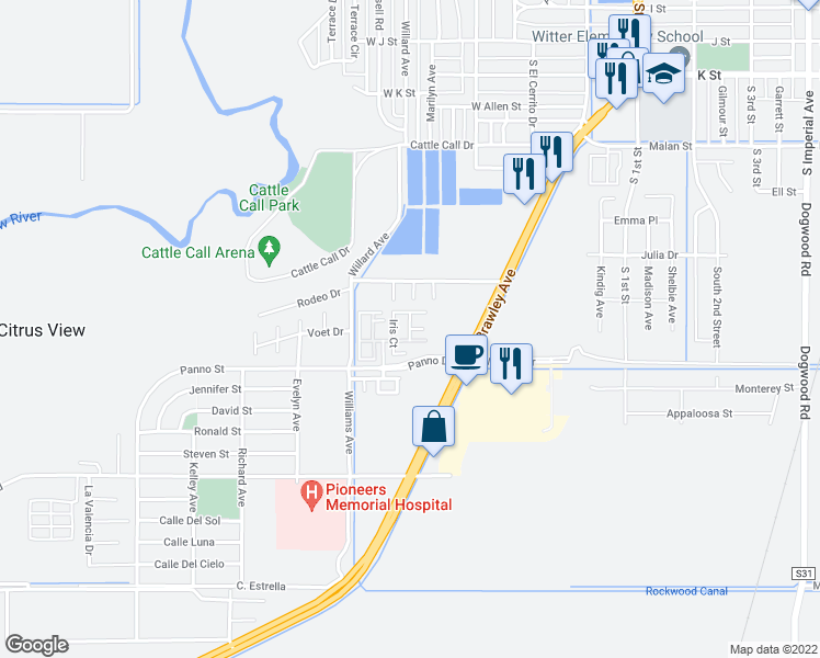 map of restaurants, bars, coffee shops, grocery stores, and more near Sunflower Way in Brawley