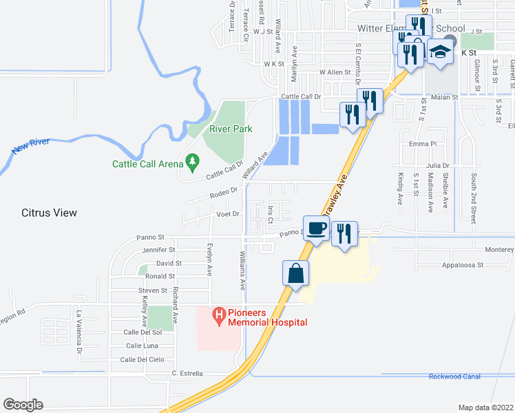 map of restaurants, bars, coffee shops, grocery stores, and more near Cool Creek Drive in Brawley