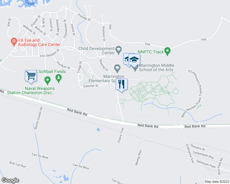 map of restaurants, bars, coffee shops, grocery stores, and more near 742 Fletcher Street in Goose Creek