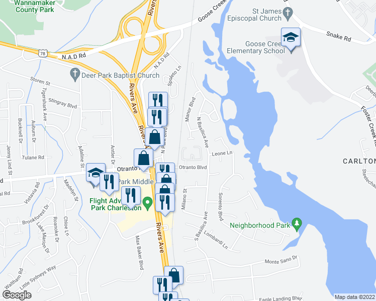 map of restaurants, bars, coffee shops, grocery stores, and more near 801 Andrea Lane in Hanahan