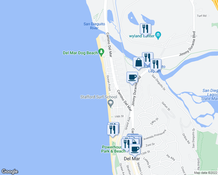 map of restaurants, bars, coffee shops, grocery stores, and more near 2306 Ocean Front in Del Mar