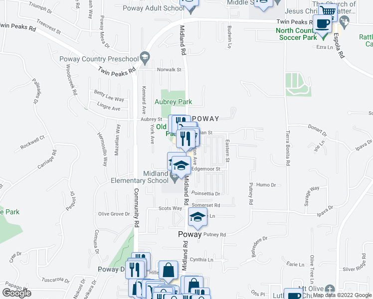 map of restaurants, bars, coffee shops, grocery stores, and more near Midland Road in Poway
