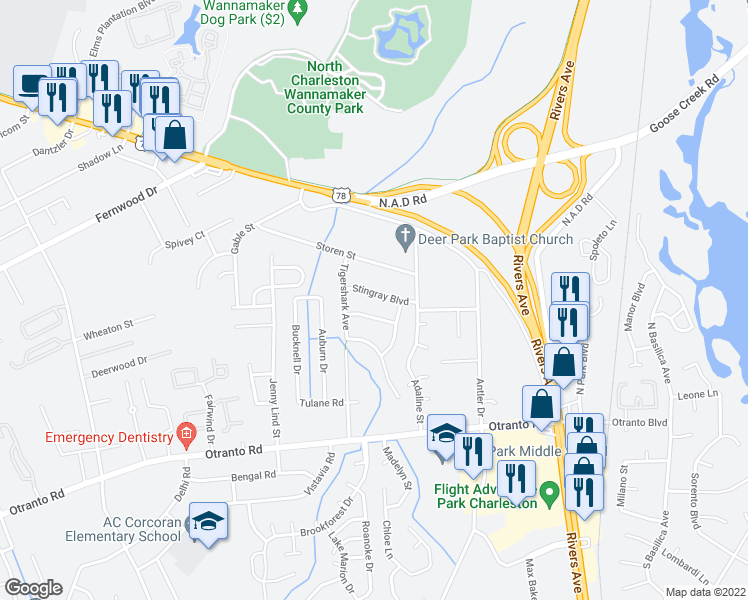 map of restaurants, bars, coffee shops, grocery stores, and more near 2427 Stingray Boulevard in North Charleston