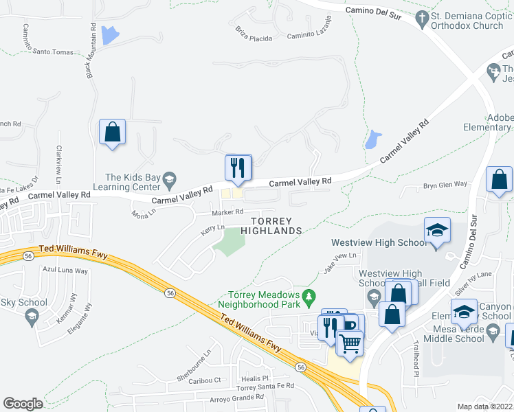 map of restaurants, bars, coffee shops, grocery stores, and more near 7704 Marker Road in San Diego