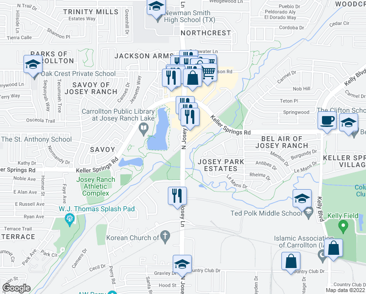 map of restaurants, bars, coffee shops, grocery stores, and more near 2090-2098 North Josey Lane in Carrollton