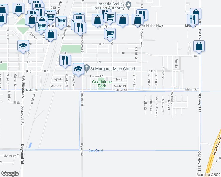 map of restaurants, bars, coffee shops, grocery stores, and more near 699 South Palm Avenue in Brawley