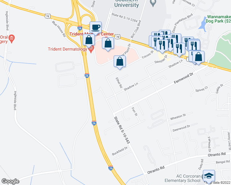 map of restaurants, bars, coffee shops, grocery stores, and more near 2916 Shadow Lane in North Charleston