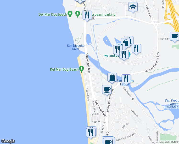 map of restaurants, bars, coffee shops, grocery stores, and more near 2821 Camino Del Mar in Del Mar