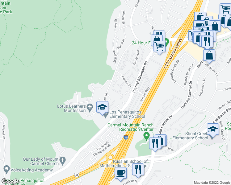 map of restaurants, bars, coffee shops, grocery stores, and more near 10845 Via Los Narcisos in San Diego