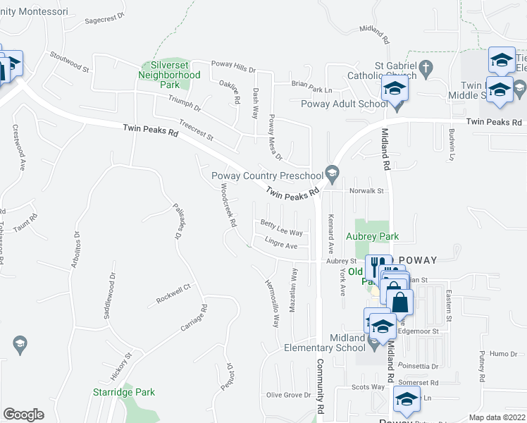 map of restaurants, bars, coffee shops, grocery stores, and more near 14324 Sladon Court in Poway