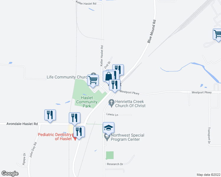 map of restaurants, bars, coffee shops, grocery stores, and more near 101 Main Street in Haslet