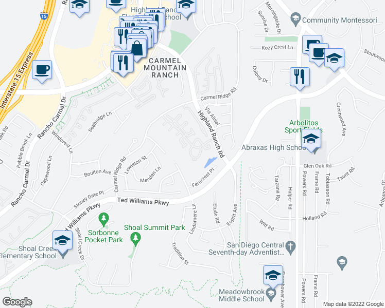 map of restaurants, bars, coffee shops, grocery stores, and more near 12017 Tivoli Park Row in San Diego