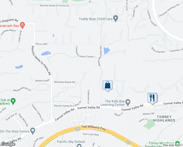map of restaurants, bars, coffee shops, grocery stores, and more near 6871 Farms View Court in Rancho Santa Fe