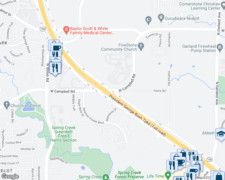 map of restaurants, bars, coffee shops, grocery stores, and more near 1759 West Campbell Road in Garland