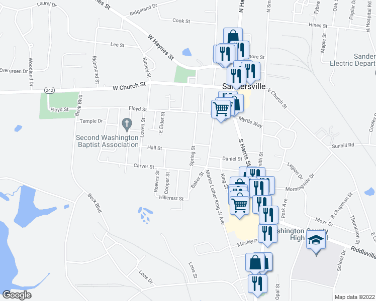map of restaurants, bars, coffee shops, grocery stores, and more near 398 Spring Street in Sandersville