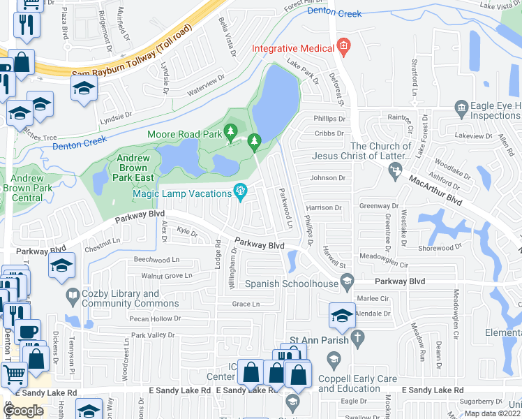 map of restaurants, bars, coffee shops, grocery stores, and more near Still Forest Drive in Coppell