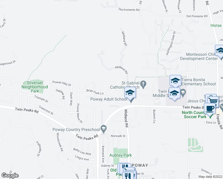 map of restaurants, bars, coffee shops, grocery stores, and more near 13432 Maryearl Lane in Poway