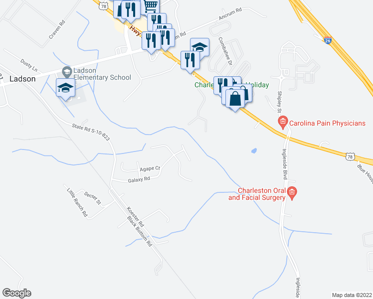 map of restaurants, bars, coffee shops, grocery stores, and more near 9476 Falling Embers Lane in Ladson