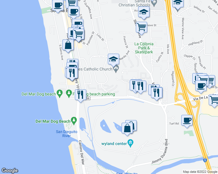 map of restaurants, bars, coffee shops, grocery stores, and more near 342 Shoemaker Court in Solana Beach