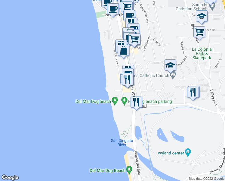 map of restaurants, bars, coffee shops, grocery stores, and more near 190 Del Mar Shores Terrace in Solana Beach
