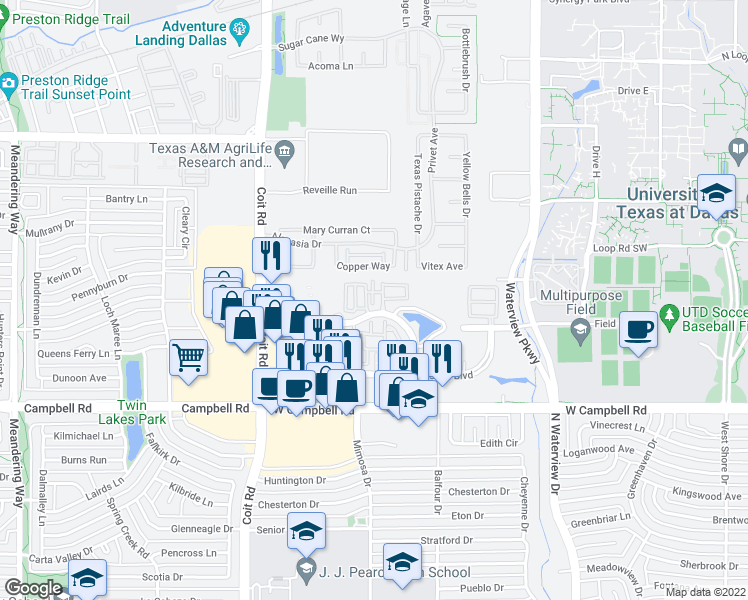 map of restaurants, bars, coffee shops, grocery stores, and more near Angelica Trail in Richardson
