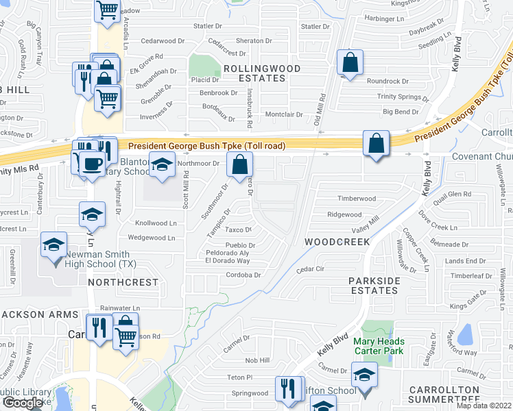 map of restaurants, bars, coffee shops, grocery stores, and more near 2500 Guerrero Drive in Carrollton