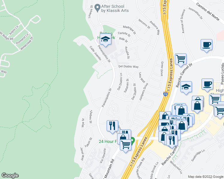 map of restaurants, bars, coffee shops, grocery stores, and more near 14827 Penasquitos Drive in San Diego