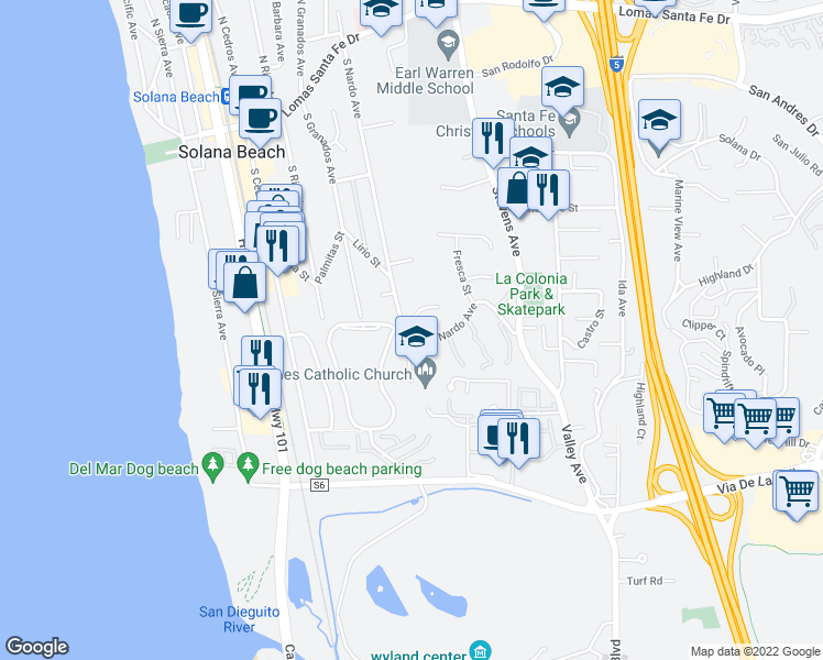map of restaurants, bars, coffee shops, grocery stores, and more near 683 South Nardo Avenue in Solana Beach
