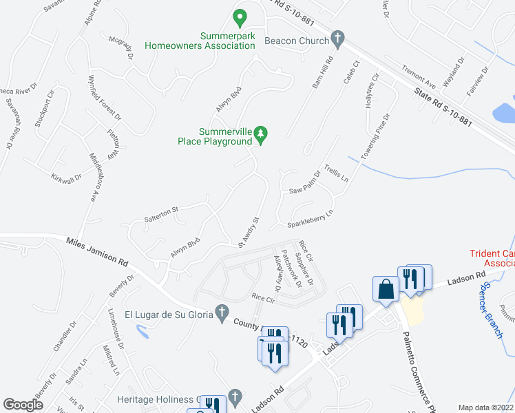 map of restaurants, bars, coffee shops, grocery stores, and more near 217 Saint Awdry Street in Summerville
