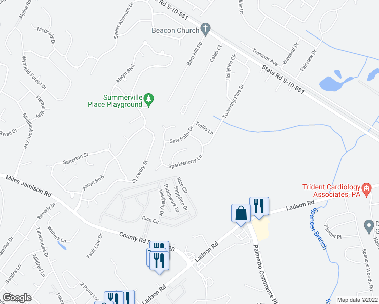 map of restaurants, bars, coffee shops, grocery stores, and more near 118 Mockernut Drive in Ladson