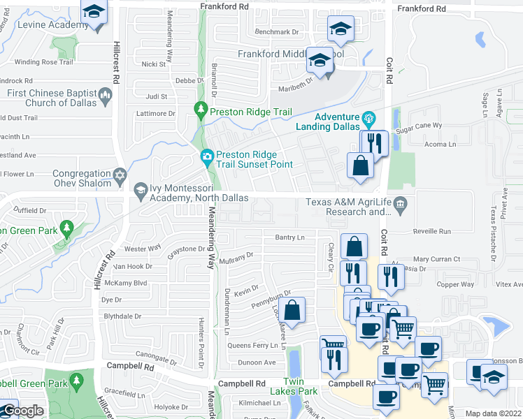 map of restaurants, bars, coffee shops, grocery stores, and more near 7650 McCallum Boulevard in Dallas