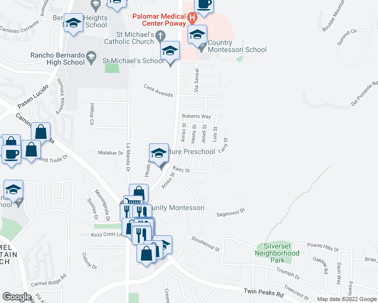 map of restaurants, bars, coffee shops, grocery stores, and more near 15110 Hesta Street in Poway