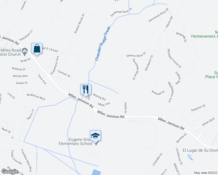 map of restaurants, bars, coffee shops, grocery stores, and more near 123 Lynches River Drive in Summerville