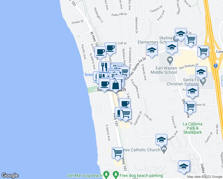 map of restaurants, bars, coffee shops, grocery stores, and more near in Solana Beach