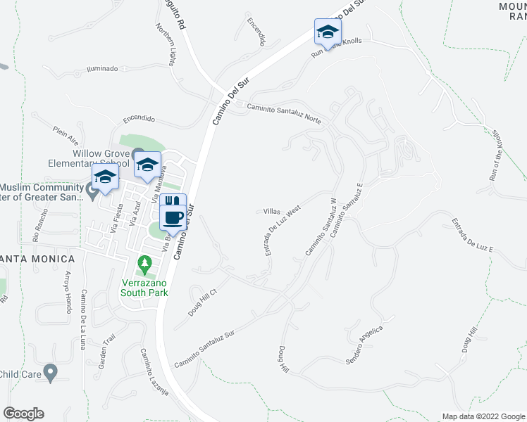 map of restaurants, bars, coffee shops, grocery stores, and more near Villas in San Diego