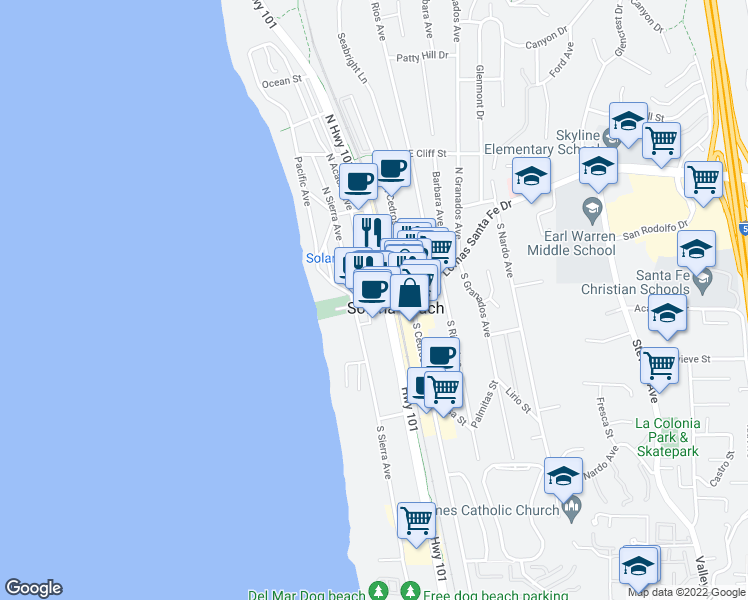 map of restaurants, bars, coffee shops, grocery stores, and more near 121 Plaza Street in Solana Beach