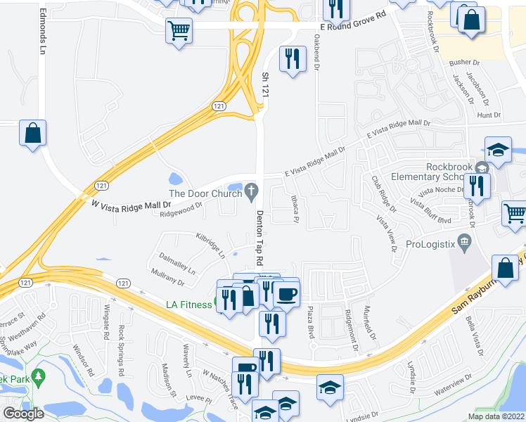 map of restaurants, bars, coffee shops, grocery stores, and more near 2767-2805 Denton Tap Road in Lewisville